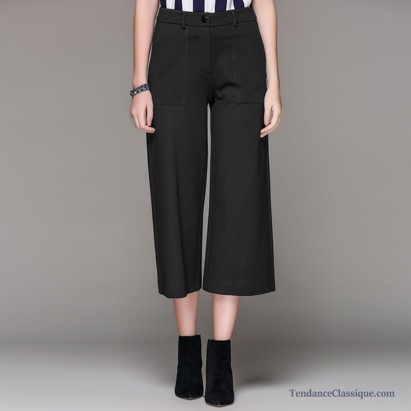 Pas Cher Large Noir Femme Peachpuff Cuir Pantalon qwPxnO