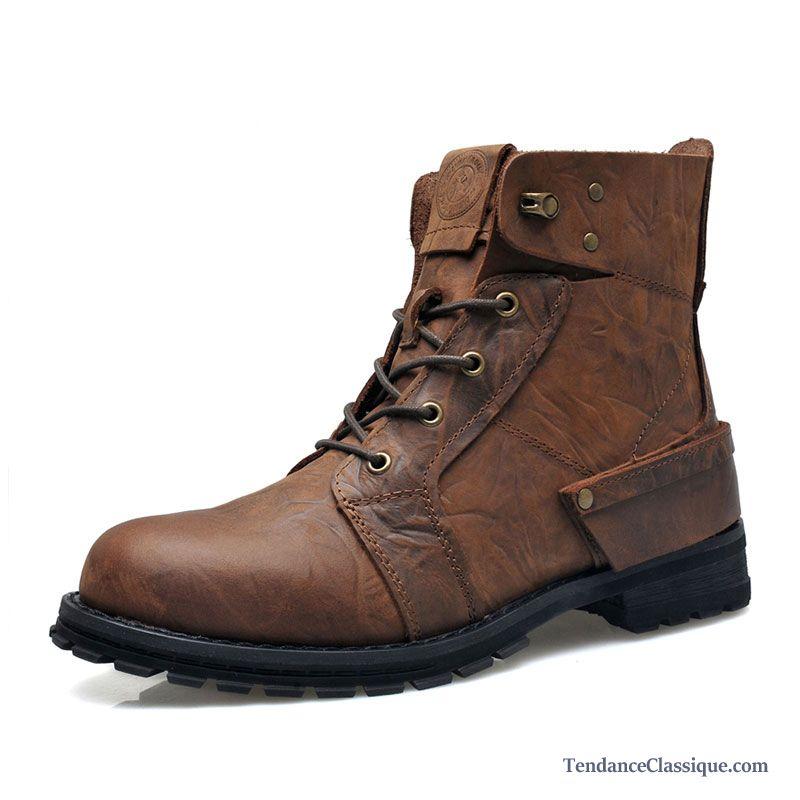 8e7a1892bc3fa3 Bottes Hautes Homme, Chaussure Cuir Noir Homme En Vente