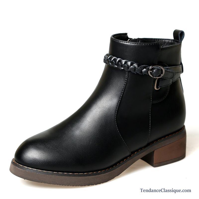 bottine plate noir femme pas cher