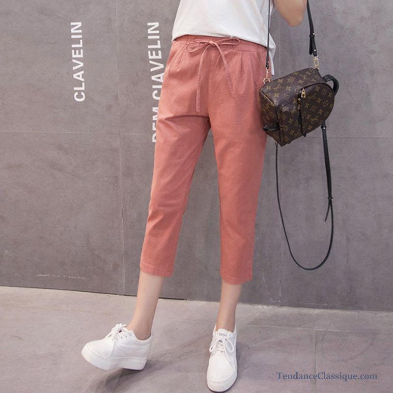 Pantalon Coton Lin Femme Saumon, Tailleur