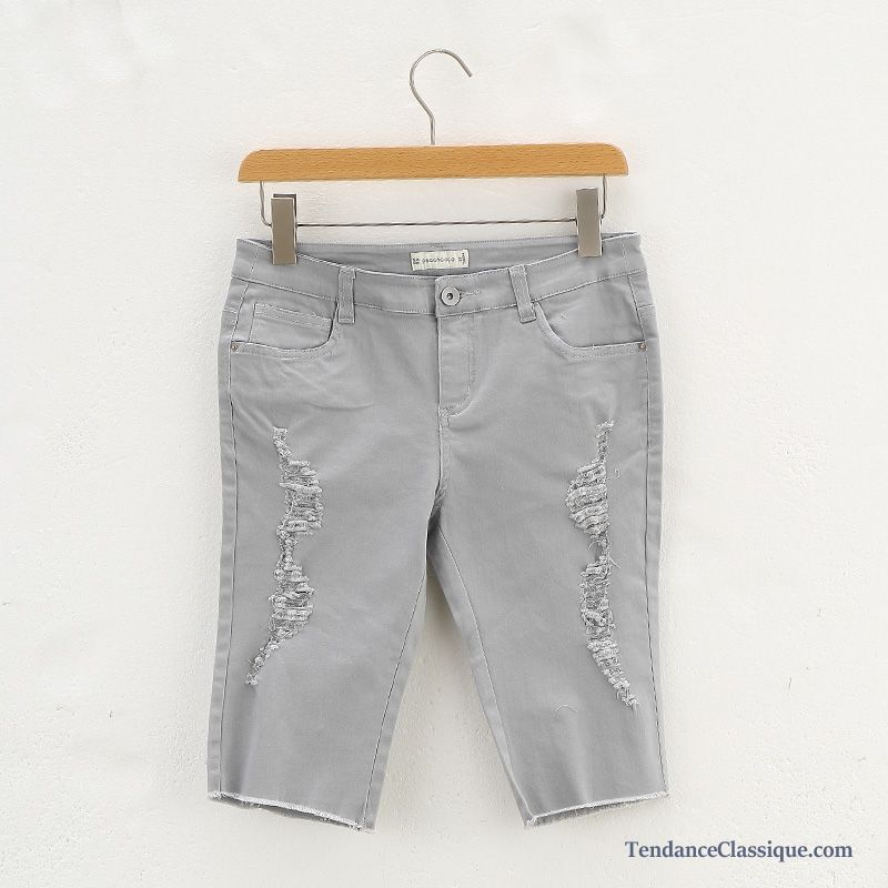 Femme Tendance Pantalon BlancPantacourt Rouge 6gyY7bf