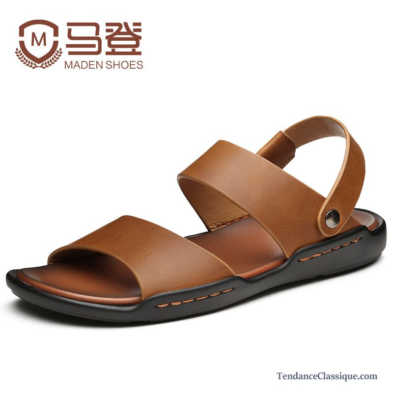 Sandales Homme Pas Cher Cuir Bronzage, Chaussure Homme Sandales Soldes