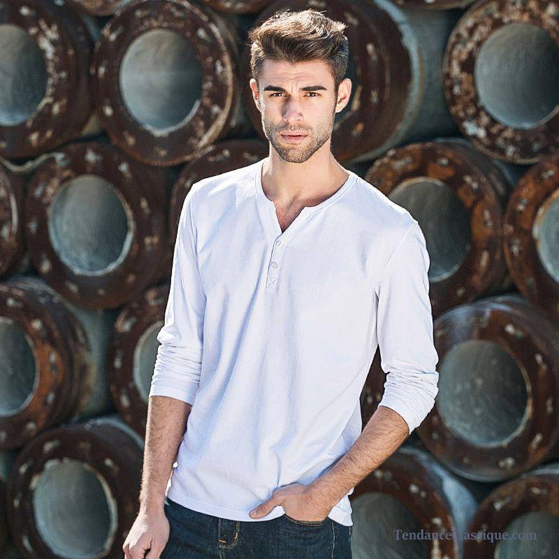 Homme MarronT Bleu Longue Tee Blanc Shirt Rouge Manche CQhrdts